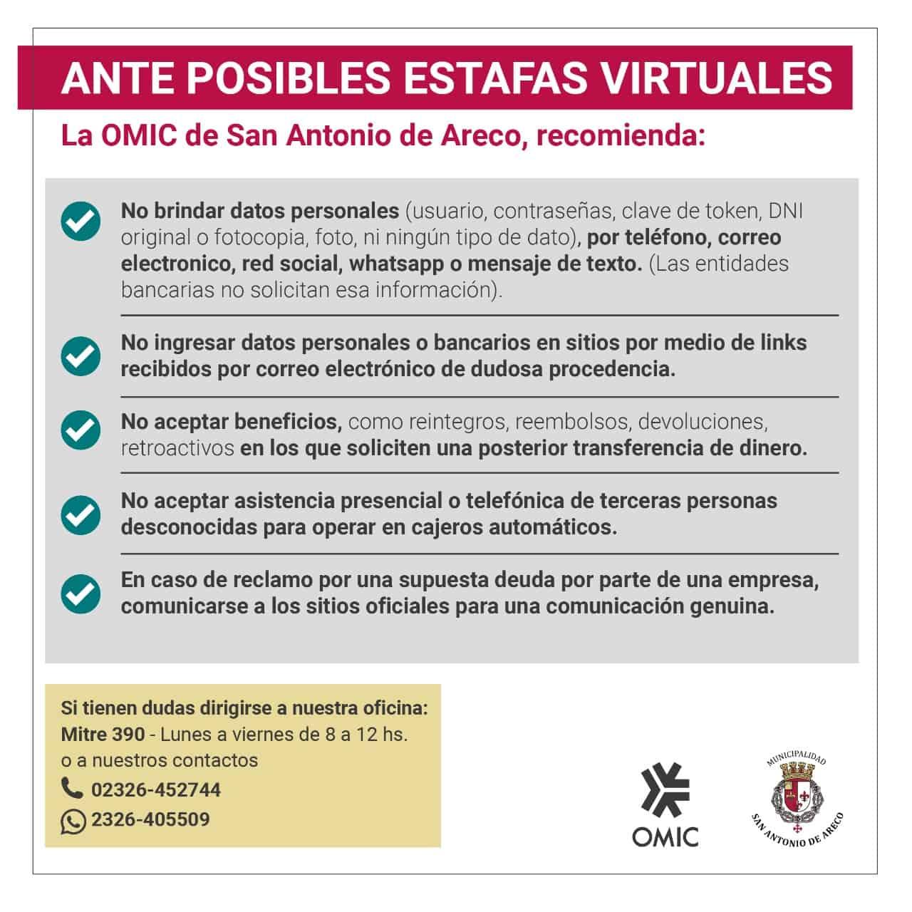 Aviso por posibles estafas en San Antonio de Areco