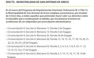 Edicto de la Municipalidad de San Antonio de Areco – Agosto 2021